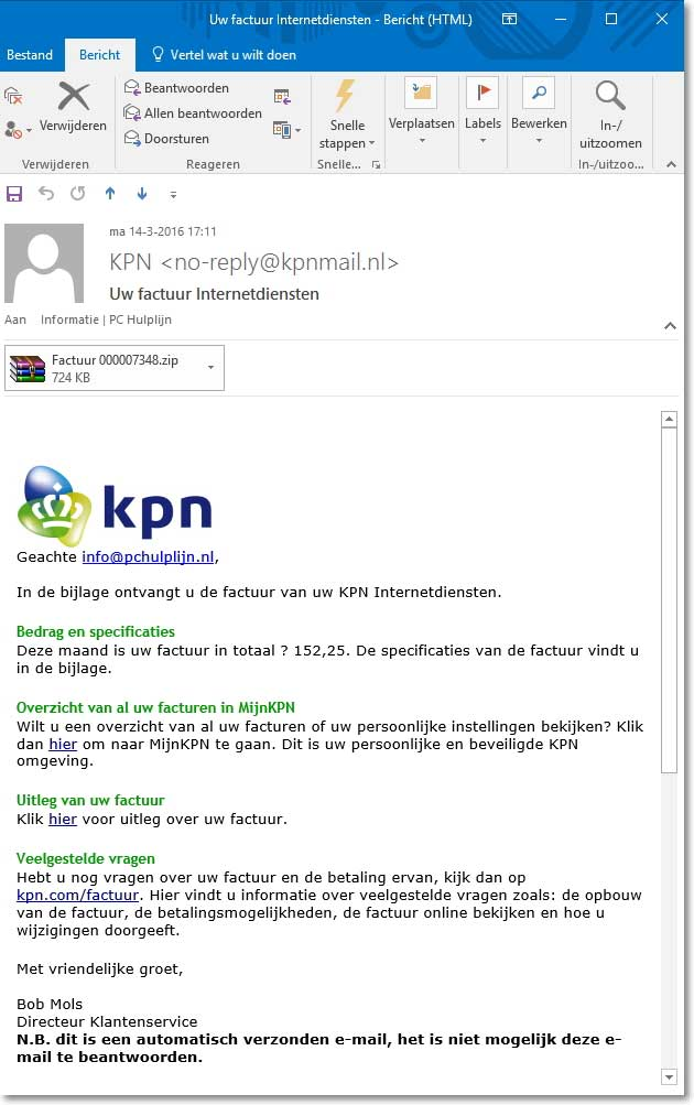Uw factuur internetdiensten van KPN | PC Hulplijn | Computerhulp